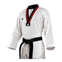 Добок для тхэквондо Adidas AdiClub Uniform с черно-красным воротом (ADITCB01, белый)