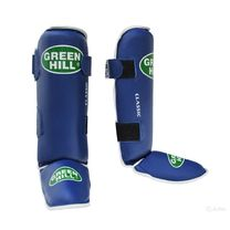 Защита голени и стопы Green Hill Classic из кожи (SIC-0019, синяя)
