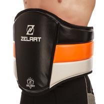 Пояс тренера кожаный ZELART на липучках (BO-1975,  Черно-оранжевый)