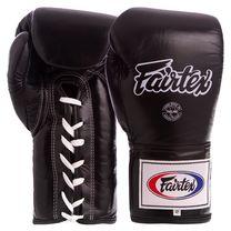 Перчатки боксерские кожаные на шнуровке FAIRTEX (BGL6, Черный)