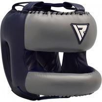 Боксерський шолом з бампером RDX Leather Pro Blue