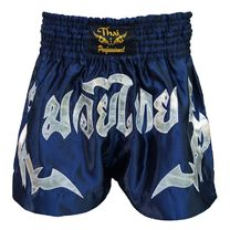 Шорты для тайского бокса Thai Professional (TPS7, темно-синие с серебром)
