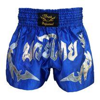 Шорты для тайского бокса Thai Professional (TPS14, синие с серебром)