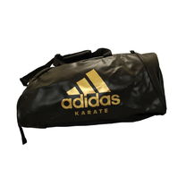 Сумка спортивная трансформер Adidas с логотипом Карате 72см*34см*34см из PU (ADIACC051K-BKWH-L, черно-золотой)