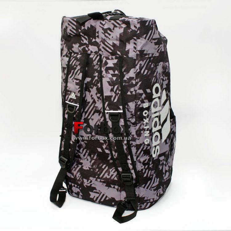 921e6e6617cb ... Спортивная сумка трансформер Adidas серый камуфляж с белым логотипом  Boxing 62см*31см*31см (