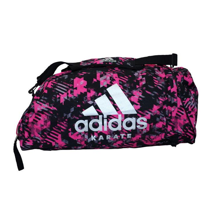 693ed05e6848 Спортивная сумка трансформер Adidas розовый камуфляж с белым логотипом  Karate 62см*31см*31см (