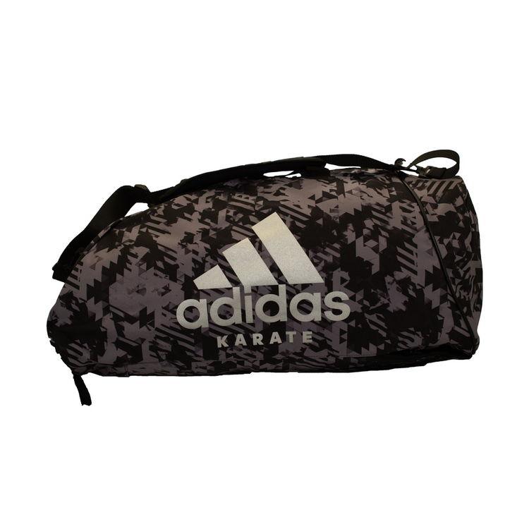 c259dc6f4c62 Спортивная сумка трансформер Adidas серый камуфляж с белым логотипом Karate  62см*31см*31см (