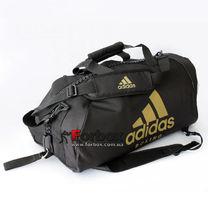 Сумка спортивна трансформер (сумка-рюкзак) Adidas з логотипом BOXING 62см * 31см * 31см (adiACC052B-BKGL, чорно-золотий)