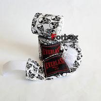 Бинты боксерские Everlast Skull эластичные (4456R-118, бело-черные)