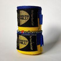 Бинты боксерские Green Hill натуральный хлопок (BP-6235, сине-желтые)