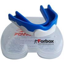 Капа боксерская Power Play 3303 (adult, бело-синяя)