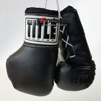 Боксерские перчатки TITLE для автографа 18см на шнурках (MRCG, черные)