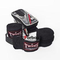 Бинты боксерские Twins эластичные (005-bk, черный)