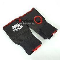 Быстрые бинты Venum перчатки с защитной вставкой и бинтом (MA-6233, черные)