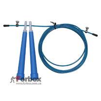 Скакалка со стальным тросом скоростная Zelart (FI-4952, синий)