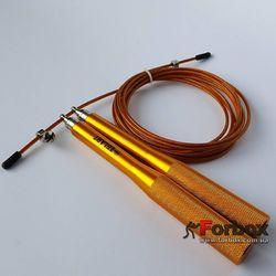 Скакалка скоростная Zelart Кроссфит на подшипниках со стальной ручкой (FI-5100, оранжевый)