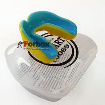 Капа одностороння двухкомпонентна Zelart дитяча в коробочці (BO-0069-S, жовто-синій)