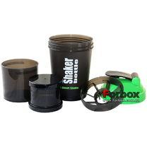 Шейкер 3-х камерный для спортивного питания FI-4443-BKR (черно-зеленый)