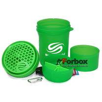 Шейкер 3х камерный для спортивного питания Smart Shaker Original 400+100+100 ml (FI-5053, зеленый)