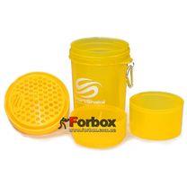 Шейкер 3х камерный для спортивного питания Smart Shaker Original 400+100+100 ml (FI-5053, желтый)