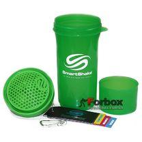 Шейкер 2х камерный для спортивного питания Smart Shaker Slim 400+100 ml (FI-5054, зеленый)