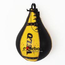 Груша пневматическая Velo каплевидная подвесная из натуральной кожи (VL-8200, черно-желтый)