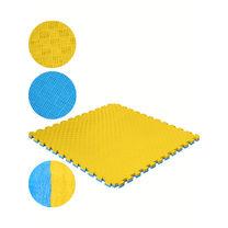 Мат татами Mega Foam ласточкин хвост 100*100*2,6см (snt-MTЖ-26, желто-синий)
