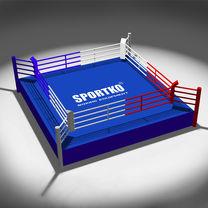Ринг боксерский на помосте Клубный Sportko 4,5*4,5*0,6м, канаты 3,5*3,5м