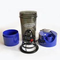 Шейкер 2х камерный для спортивного питания Muscletech 500+100 ml (FI-7016, синий)