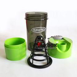 Шейкер 2х камерный для спортивного питания Muscletech 500+100 ml (FI-7016, зеленый)