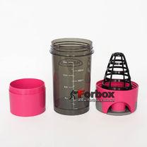 Шейкер 2х камерный для спортивного питания Muscletech 500+100 ml (FI-7016, розовый)