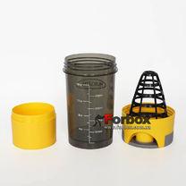 Шейкер 2х камерный для спортивного питания Muscletech 500+100 ml (FI-7016, желтый)