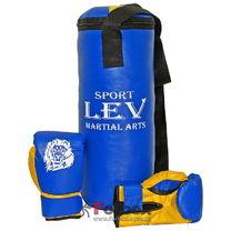 Детский боксерский мешок с перчатками 0.4м Lev Sport сине-желтый