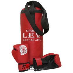 Дитячий боксерський мішок з рукавицями 0.4м Lev Sport червоний
