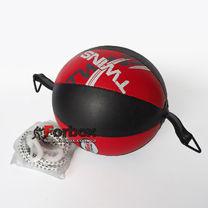 Груша пневматическая Twins Double End Ball круглая на растяжках (DPL020, красно-черный)