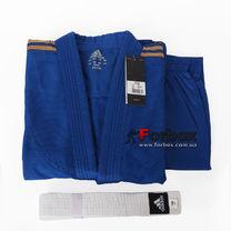 Кимоно для дзюдо Adidas Club 350 гм2 с золотыми полосами (j350-GLD, синее)