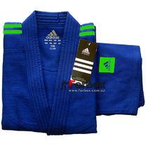 Кимоно для дзюдо Adidas Club 350 гм2 (J350В, синее с зелеными полосами)