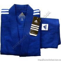 Кімоно для дзюдо Adidas Club 350 гм2 з білими полосами (j350, синє)