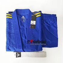 Кимоно для дзюдо Adidas Club 350 гм2 (J350В, синее с желтыми полосами)