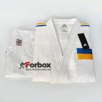 Кімоно для дзюдо Adidas Champion 2 з акредитацією IJF національний прапор SlimFit (J-IJFS-SMU, біле)