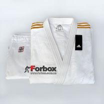 Кімоно для дзюдо Adidas Champion 2 з акредитацією IJF з золотими смугами (J-IJF-SMU, біле з золотом)