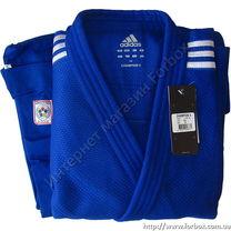 Кимоно для дзюдо Adidas Champion 2 с лицензией IJF 730 гм2 (J-IJF, синее)