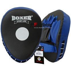 Лапы боксерские гнутые Boxer с открытой ладошкой кожзам (BXLBGOO, черно-синие)