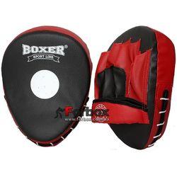 Лапы боксерские гнутые Boxer с открытой ладошкой кожзам (2011-01, красно-черные)