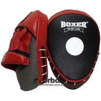 Лапы боксерские гнутые Boxer Элит кожаные (2012-01, черно-красные)