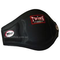 Защита туловища пояс тренера Twins из натуральной кожи на ремнях (BEPL-3-BK, черный)