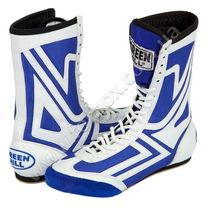 Обувь для бокса Green Hill боксерки высокие (BS-4005, бело-синие)