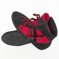 Обувь для бокса Боксерки Украина из натуральной замши с сеткой (BSLTRS, черно-красные)