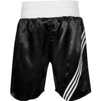 Шорты боксерские Adidas профессиональные Multi (ADISMB02, черные с белыми полосами)