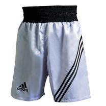 Шорты боксерские Adidas профессиональные Multi (ADISMB02, серебро с черными полосами)